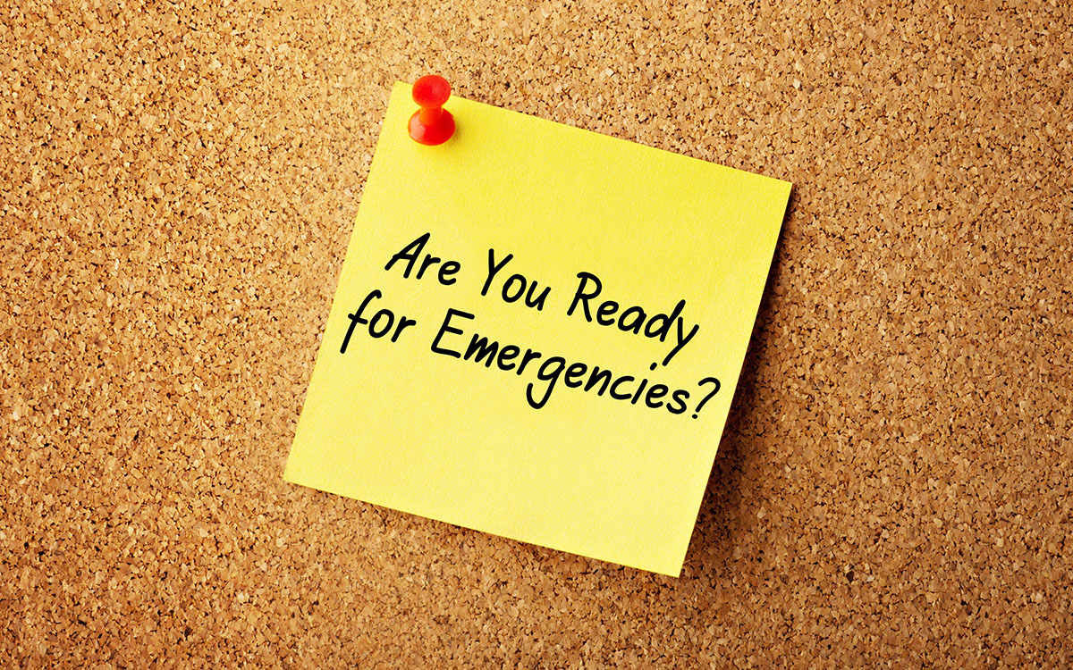 sticky note that says: are you ready for emergencies